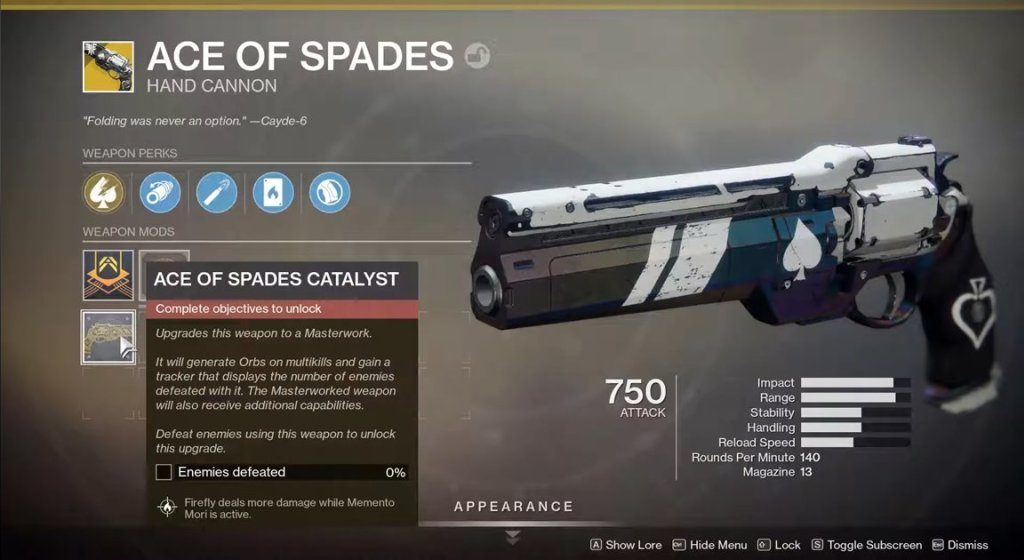 destiny 2 ace of spades catalyst